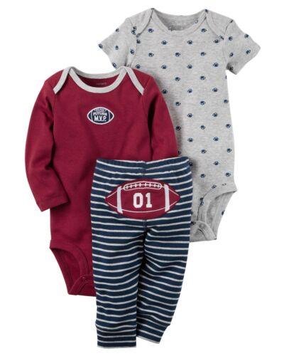 Carters 3 Piece Sets Newborn 3 6 9 12 Months Football Dinosaur Bodysuit Pants