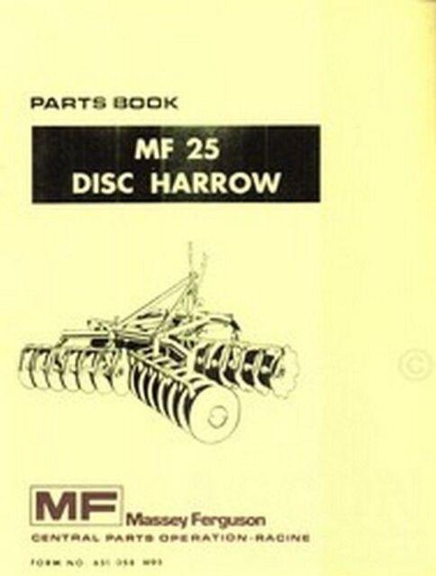 Massey Ferguson Mf 25 Mf25 Disc Harrow Parts Manual Ebay