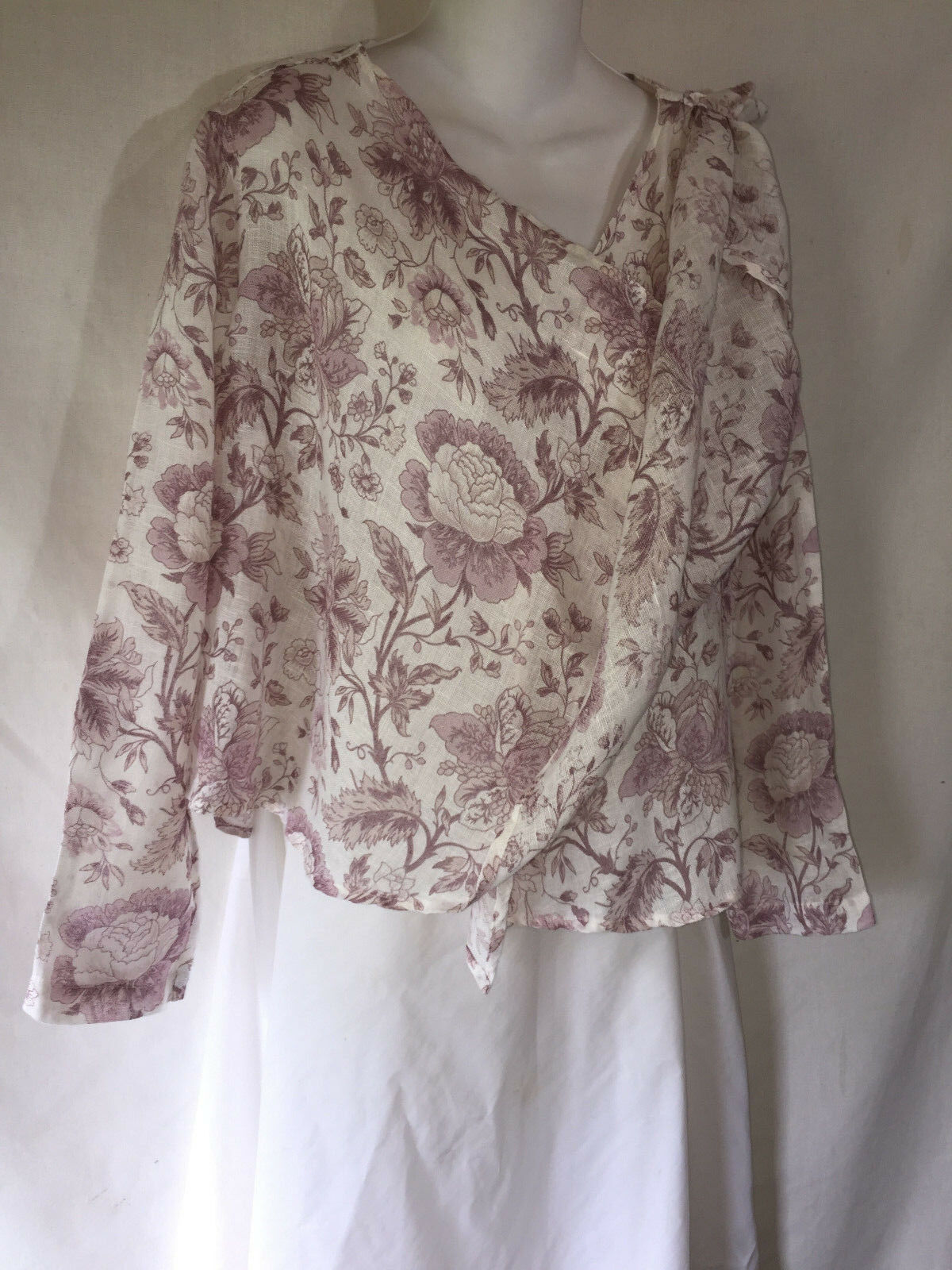 FLAX Airy Linen Wrap Shirt Top Jacket Cardigan Lagenlook Weiß lila Floral P
