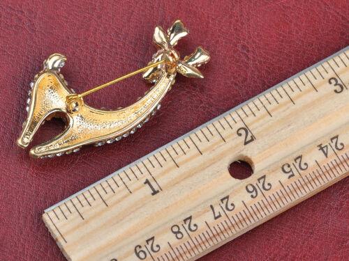 Adorable Alloy Crystal Rhinestone Gold Tone Deer Doe Animal Pin Brooch