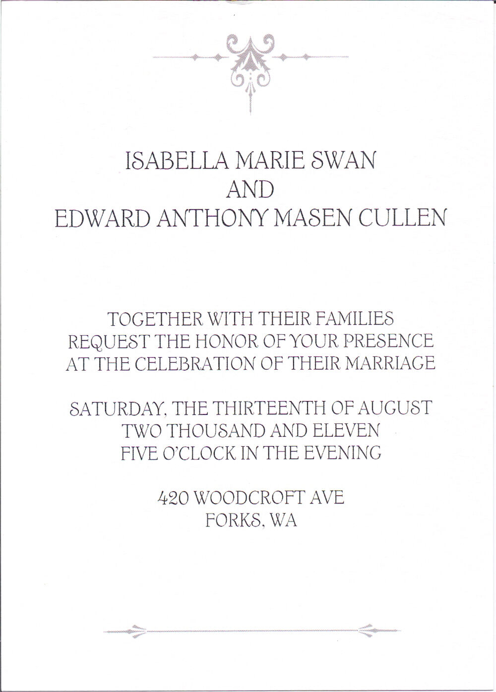 Twilight Breaking Dawn Part 1 Wedding Invitation & Envelope ...