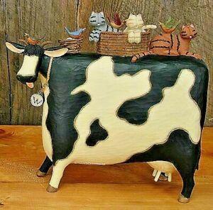 "williraye studio whimsical folk art  cow  cats ""ride"