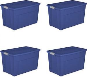 New-Durable-Storage-Box-Sterilite-35-Gallon-Latch-Tote-Stadium-Blue-SET-of-4