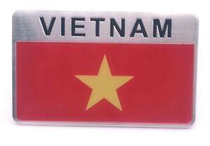 Sticker-Aufkleber-Auf-Kleber-Emblem-Flagge-3D-8x5cm-Vietnam-Metall-selbstklebend