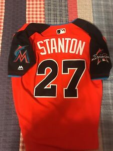 check out fb53a 9db7c Details about Giancarlo Stanton 2017 HR Derby All Star Cool Base Jersey  Miami Marlins Size 40