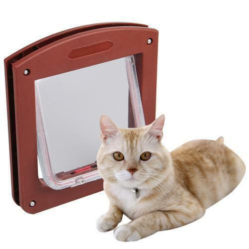 Cat Safe 4 Way Locking Flap Screen Door Lockable Small Dog Puppy Frame BS