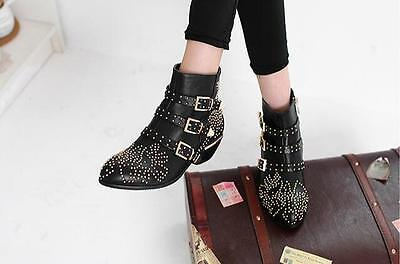 Punk Studded Buckle Low Heel Womens New Vintage Rocker Cowboy Ankle Boots Shoes