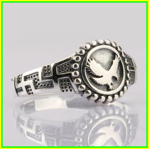 Details about  /Ring Men/&Women Solid 925Sterling Silver Flying Eagle Symbol Cross Do Old,Jewelry