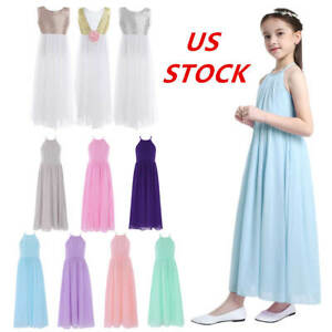 US Toddlers Girls Long Dress Princess Pageant Wedding Bridesmaid Birthday Gown