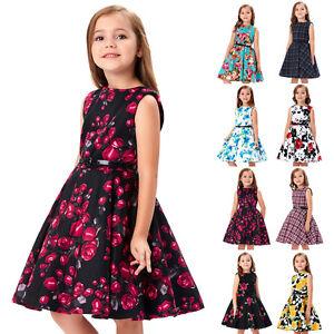 cbb079c9d Girls Flower Dress Kids Cotton Party Dresses Retro Age 6~12 Years ...