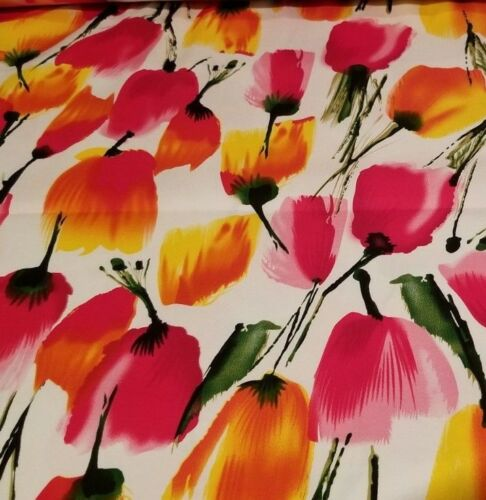 Spring is Sprung Beautiful Watercolor Tulips Print on Cotton Stretch Shirting!