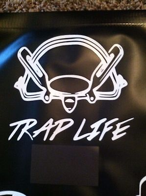 White Vinyl Decal Trap Life coil spring Trap traps trapping 6x6 # 102