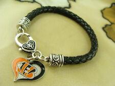 CINCINNATI BENGALS aminco charm on Black braided leather silver bracelet