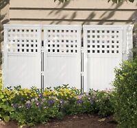Patio Garden Decor Fences 4 Panel Durable Resin Wicker Outdoor White Screen Gate