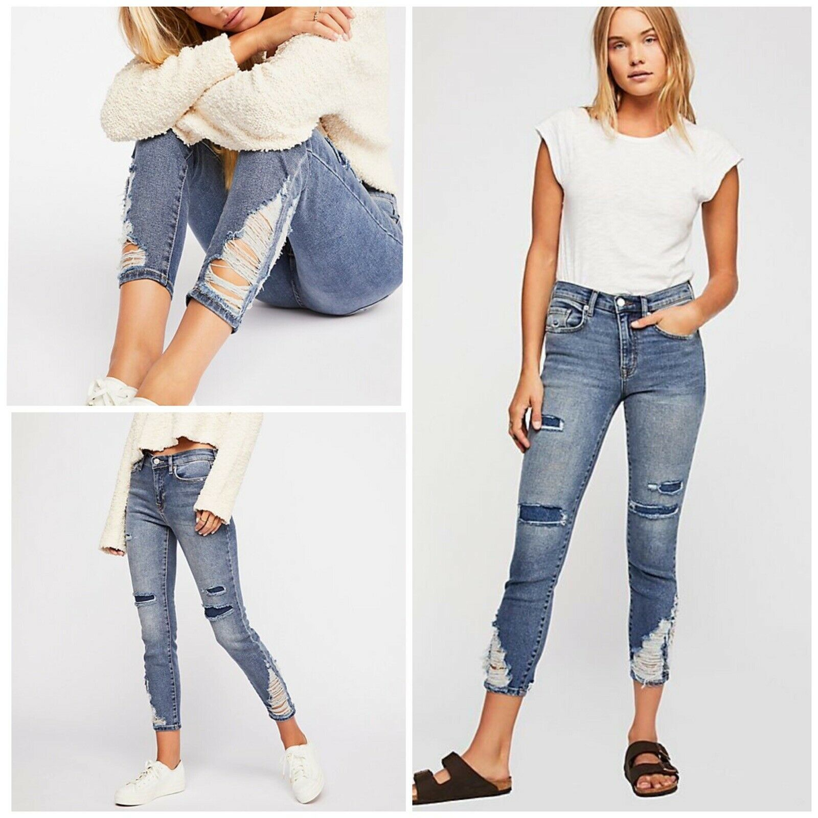 Free People About A Girl High-Rise Skinny Jeans Size 27 NWT