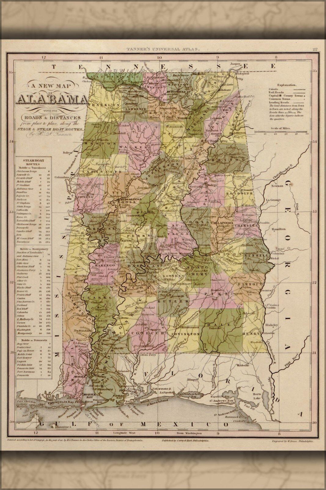 Plakat, Viele Größen; Karte von Alabama 1844