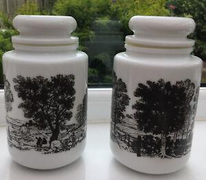 Vintage-Milk-Glass-Storage-Jars-X2-White-With-Grey-Countryside-Scenes-18Cm