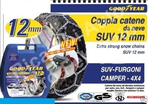CATENE DA NEVE GOODYEAR 12mm SUV FURGONE CAMPER GRUPPO 247 RUOTE 235//60-18