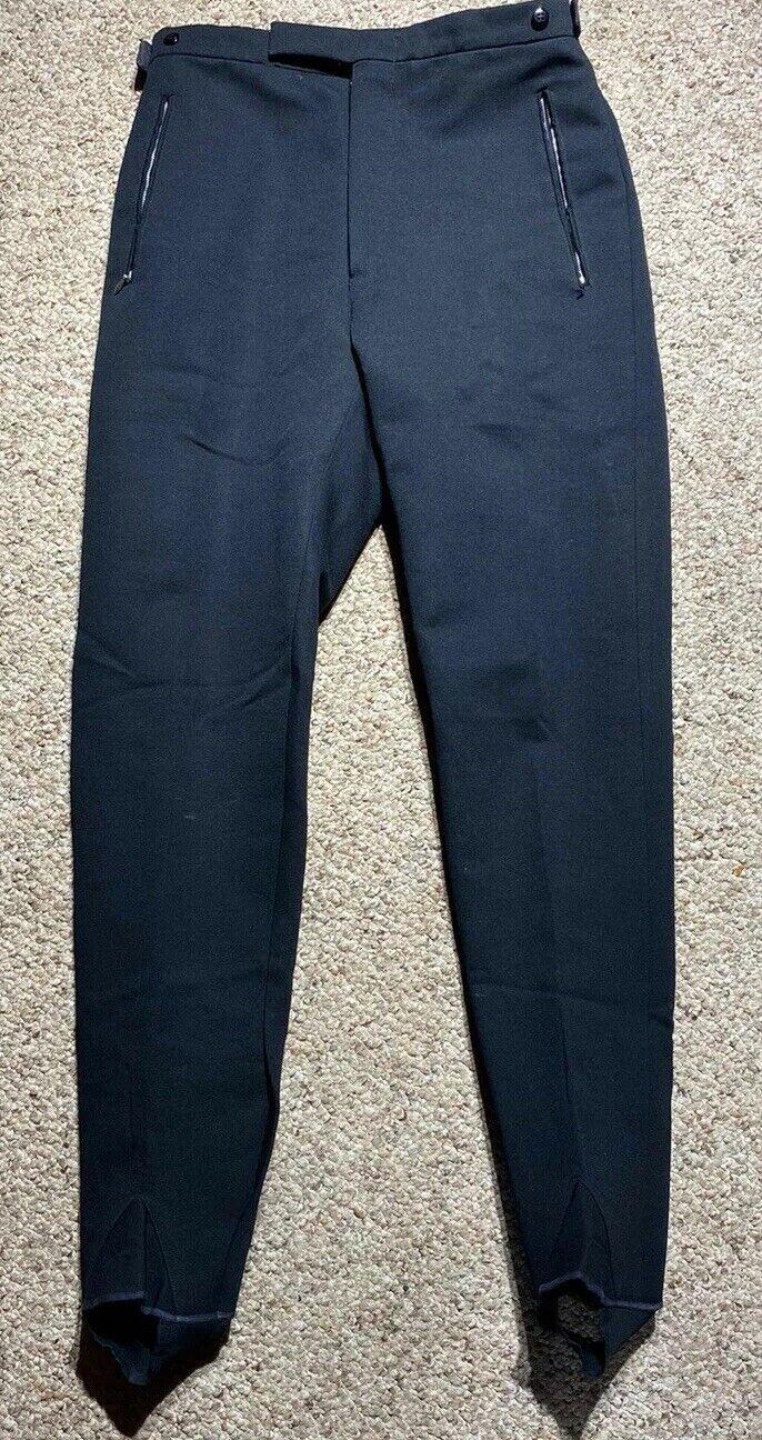 VINTAGE 80s MADE IN ITALY PANTS Black Stirrup Stretch Wool Lycra Spandex SZ 30R