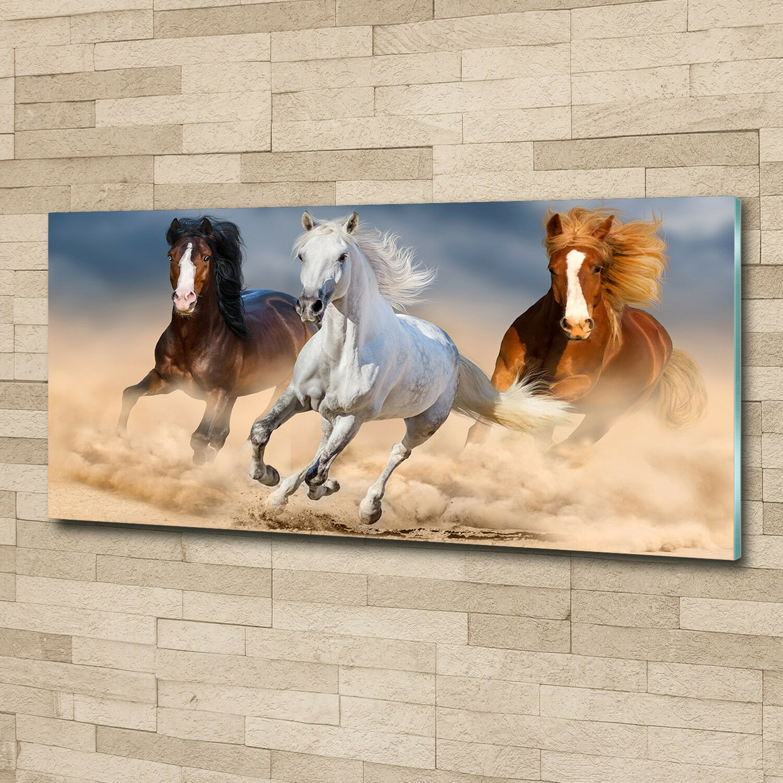 Glas-Bild Wandbilder Druck auf Glas 125x50 Deko Tiere Pferde in der Wüste