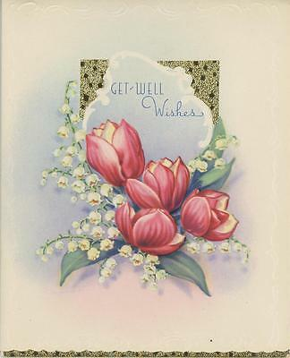 VINTAGE WHITE LILY OF THE VALLEY PINK TULIP GET WELL OLD GREETING CARD ART PRINT