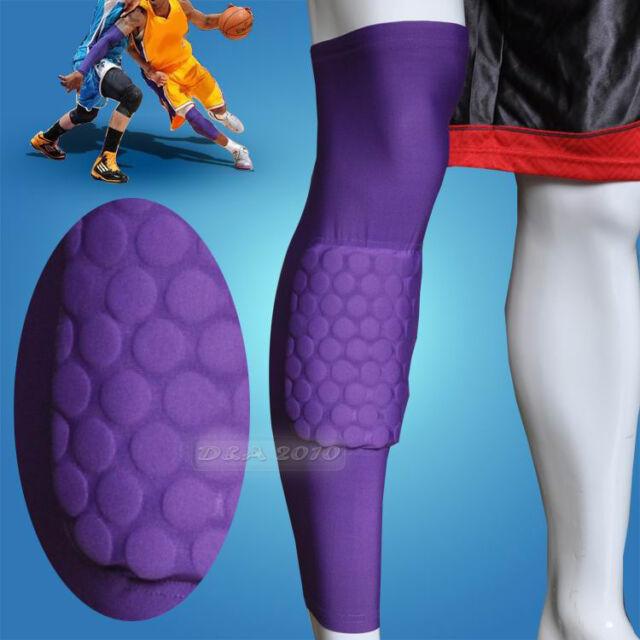 Honeycomb Pad Crashproof Antislip Basketball Leg Knee Long Sleeve Purple M L XL