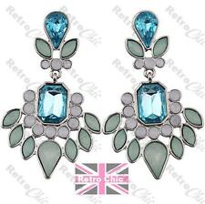 PALE BLUE green white RHINESTONE chandelier EARRINGS jewelled SILVER TONE 18KGP
