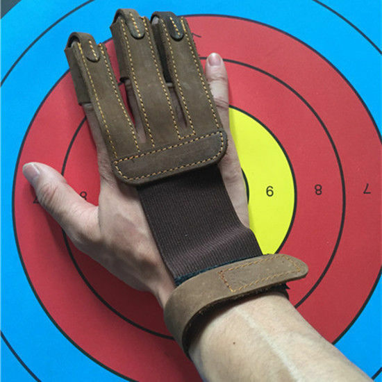 Leather Archery Pull Arrow Thumb Finger Guard Ring Glove Hunting Brown 2cm