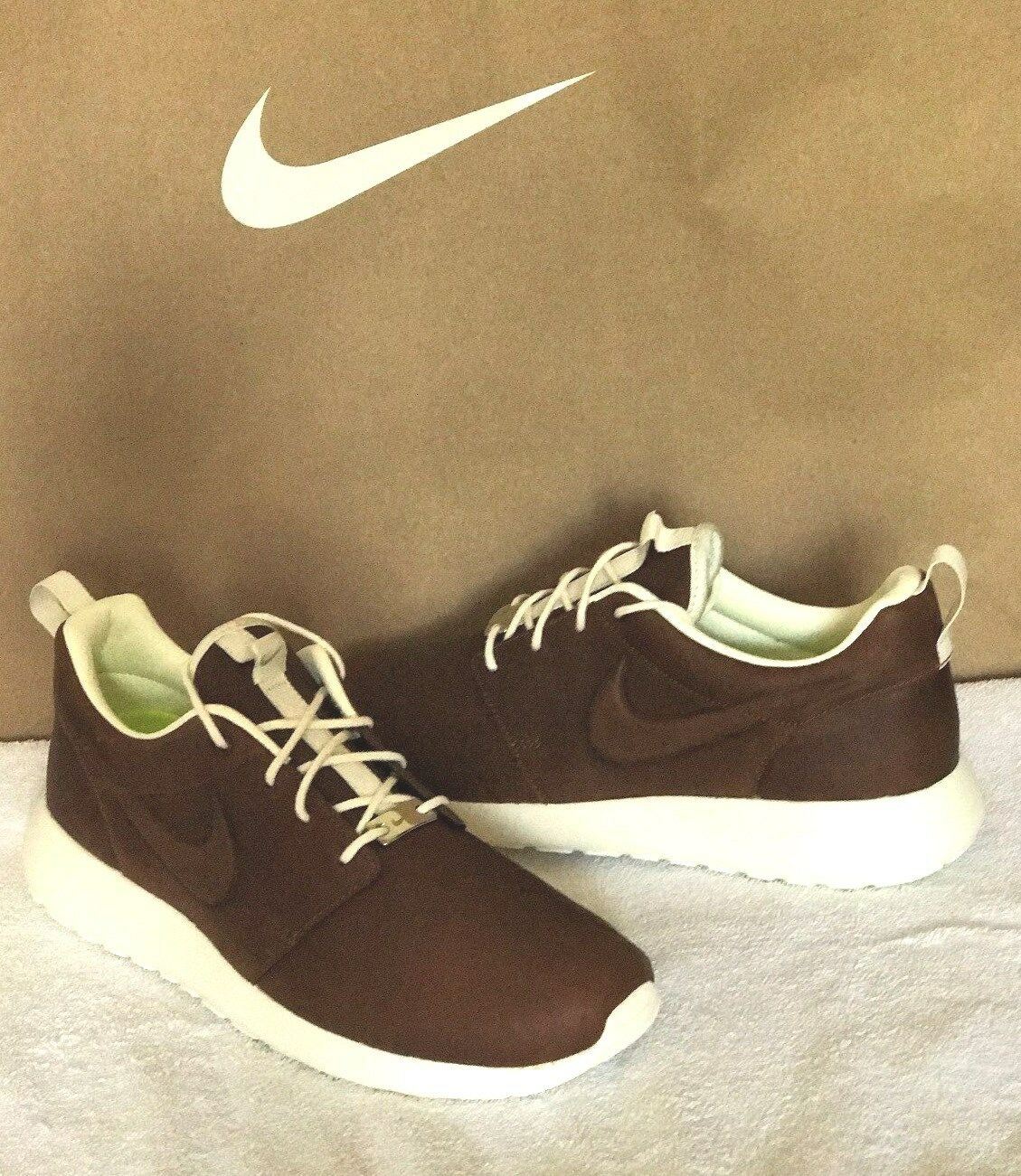 Nike Brown Roshe Running Shoe iD Premium Leather Brown Nike - White Size 6.5 666708
