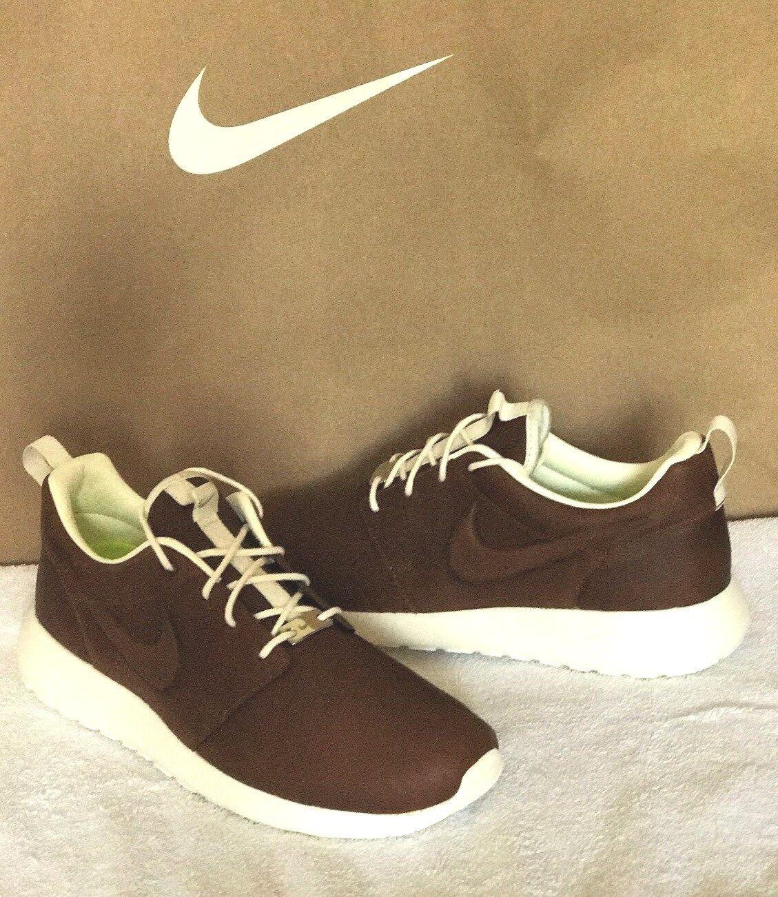 Nike Roshe Running Shoe iD Premium Leather Brown - White Size 6.5