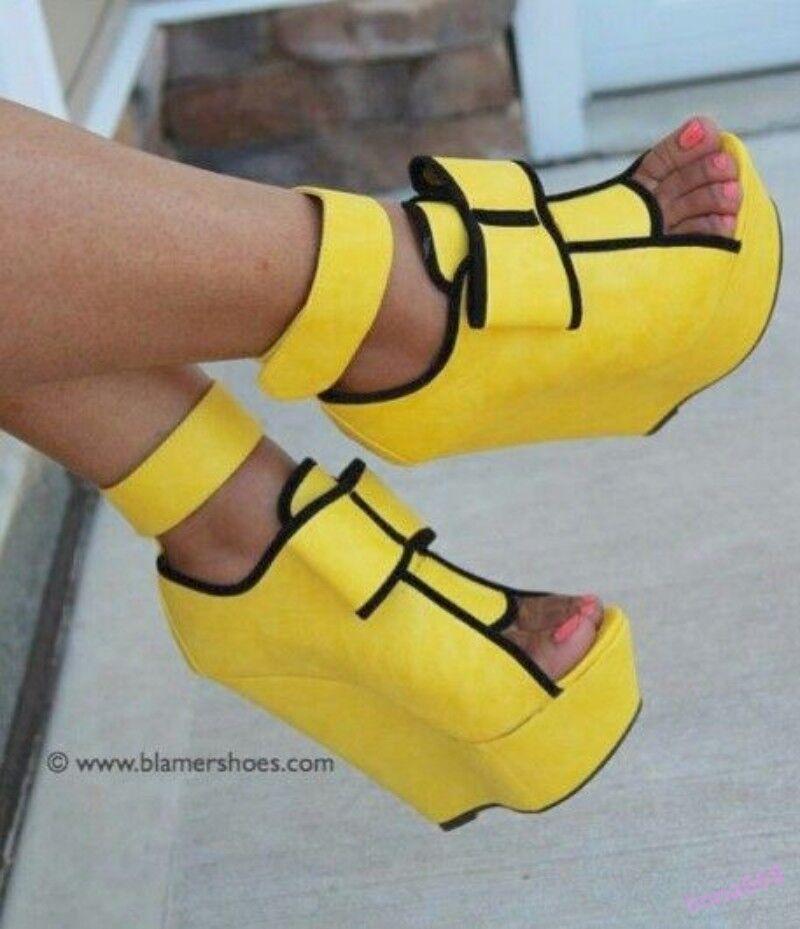 Women's Super High Heel Wedge Shoes Platform Open Toe Nightclub Plus Size
