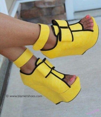 Hot Women/'s Super High Heel Wedge Shoes Platform Open Toe Nightclub Plus Size