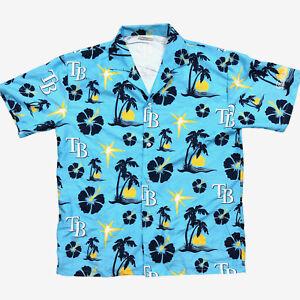 Herren-Tampa-Bay-Rays-Shirt-Medium-Hawaii-Blumen-blau-Kurzarm-Knopfleiste