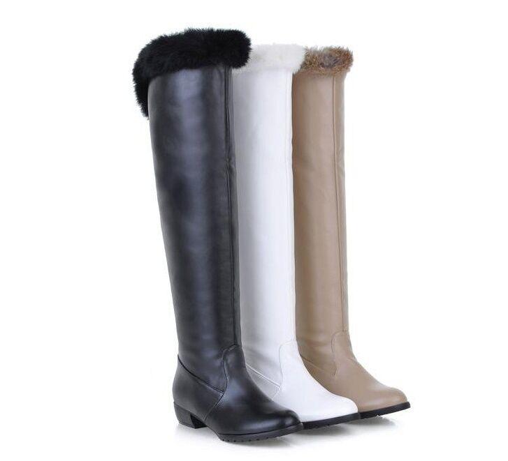 stiefel schuhe beige weiß schwarz absatz 3.5 cm simil leder komfortabel 9163