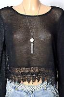 H&M Pullover Gr. S kurz schwarz Strick Pullover mit Häkelspitze