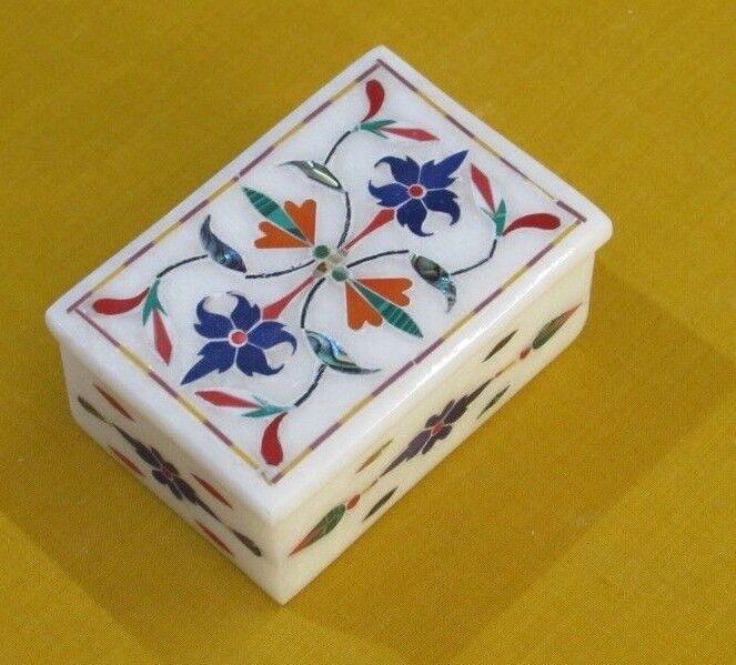Marble Jewelry Box White Stone Handmade Pietra Dura Art Lapis Stone Gift