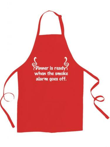 funny unisex apron DINNER IS READY WHEN THE SMOKE ALARM GOES OFF