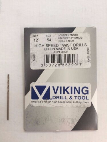 Number #54 88290 Norseman Viking USA Drill Bit Super Premium Jobber 12-PACK