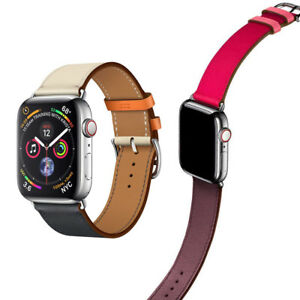 Genuine-Leather-TWO-TONE-Watch-Band-Strap-for-Apple-Watch-Series-5-4-3-2-1