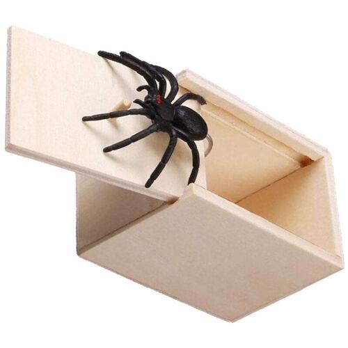 Holz Streich Spinne Scare Box Fall Witz Lebensechte Überraschung Gag Spielzeug