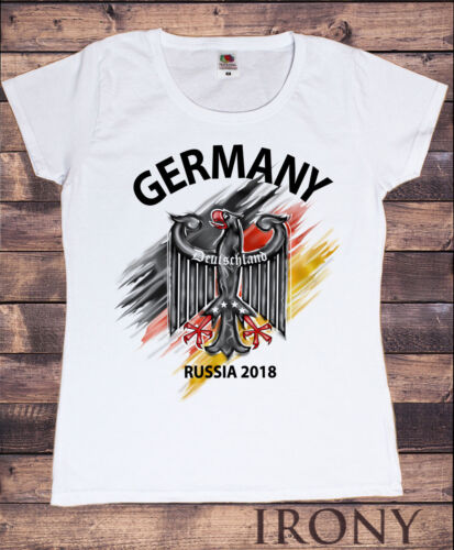 Women/'s T-shirt-Germany Deutschland Flag Eagle Euro Russia 2018 Football Print