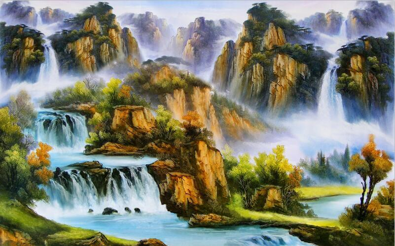 3D Hill Waterfall oil paintin Wall Paper Print Decal Wall Deco Indoor wall Mural
