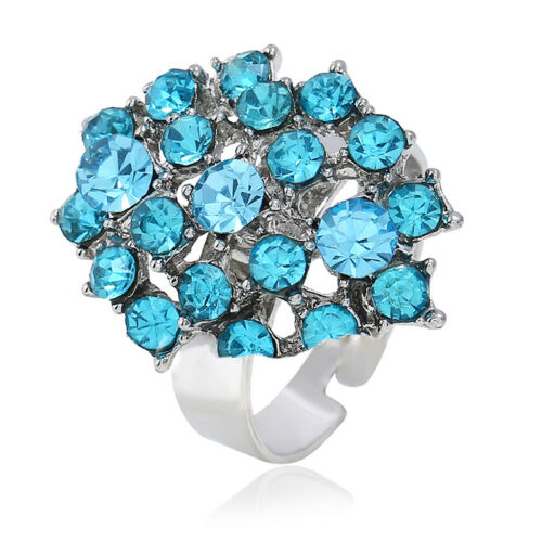 LUXE élégant Bling Multi Couleur Strass Bead Finger Ring Wedding Jewelry