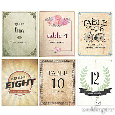 36 Vintage Medley Personalized Wedding Table Numbers Cards Q18740