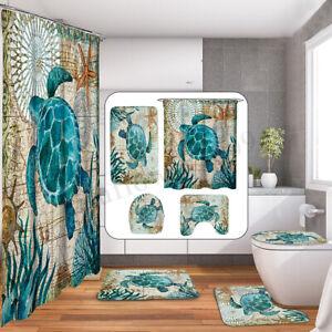 Turtles-Octopus-Style-Shower-Curtain-Bathroom-Toilet-Cover-Rug-Non-Slip-Bath-Mat