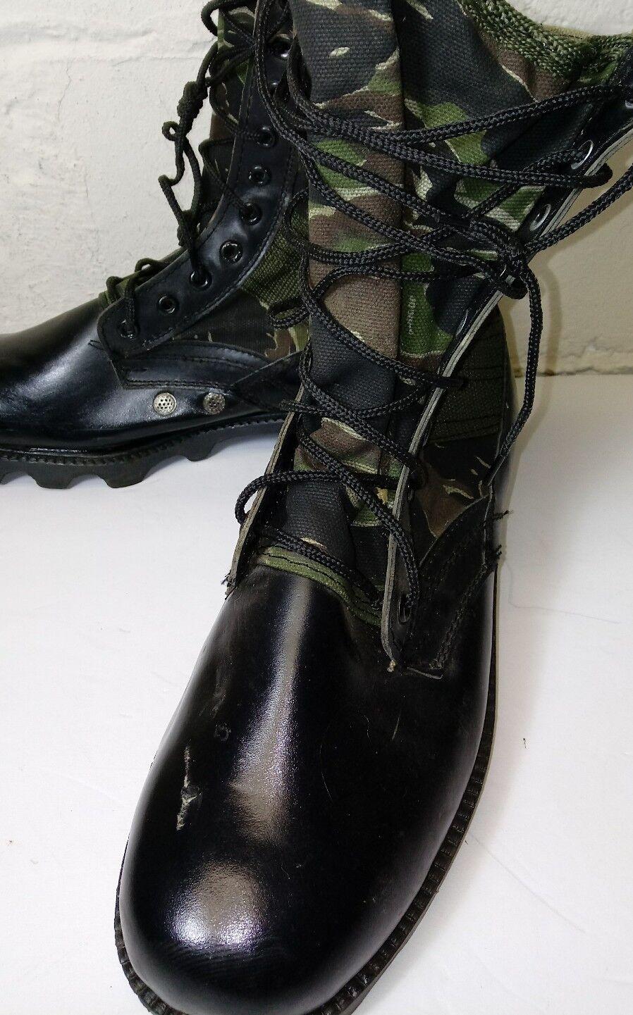 VINTAGE Military Boots size 11 W Men's Leather Black Camo......Multi-Color......