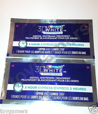 Crest 3D Whitestrips - 2 Hour Express - 2 Pouches / 4 Total Strips - FREE SHIP