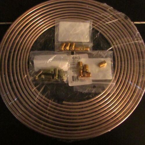 """x 25 ft Coil w 15   3//16 ftgs CN3KT01 Copper  Brake Line Tubing Kit 3//16/"""" O.D"""