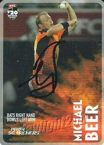 Signed-2014-2015-PERTH-SCORCHERS-Cricket-Card-MICHAEL-BEER-Big-Bash-League