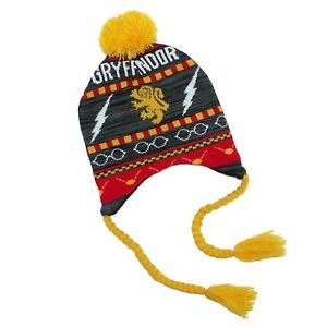 e2488f88f59 Harry Potter Gryffindor Fair Isle Knit Laplander Pom Beanie Winter ...